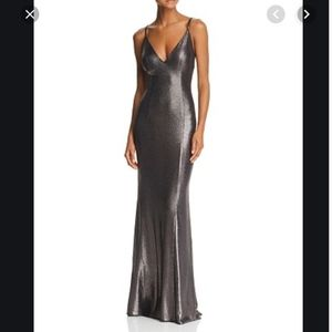 Aidan Mattox Gunmetal Metallic Mermaid Dress sz 4